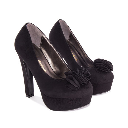 High Heel Plateaupumps, Velourimitat, schwarz