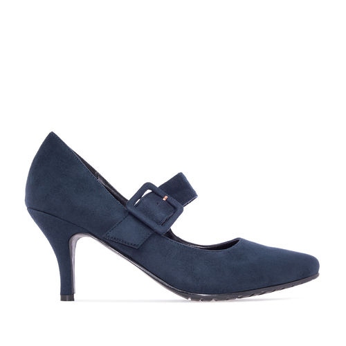 Damenpumps im Mary-Jane-Stil mit Spange, Velourlederimitat, blau