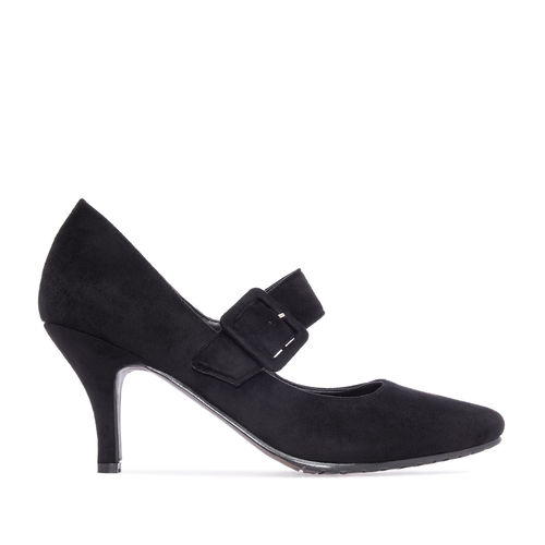 Damenpumps, Mary-Jane-Stil,  Velourlederimitat, schwarz