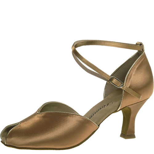 Tanzschuh, Satin, bronze/gold, UK 2,5 - Restposten -