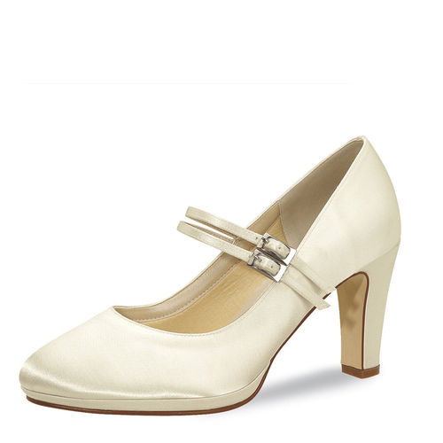 "Elsa Coloured Shoes, Brautschuh ""Annette"", Satin, ivory"