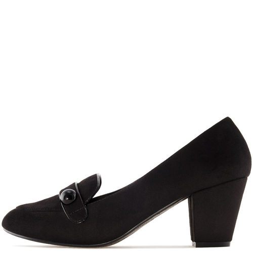Pumps, Velourlederimitat, schwarz