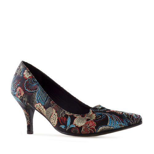 Pumps, Brokat, schwarz-multicolor