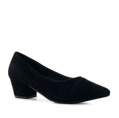 Pumps, Loafer, Velourimitat, schwarz